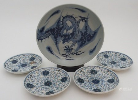 A CHINESE BLUE AND WHITE DISH painted with a dragon chasing the pearl of wisdom, 28cm diameter and