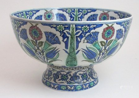 A LARGE PERSIAN POLYCHROME BOWL painted with panels of flowers issuing from jardiniere's, divided by