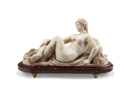 A LATE LOUIS XVI WHITE MARBLE FIGURE OF A BACCHANTE