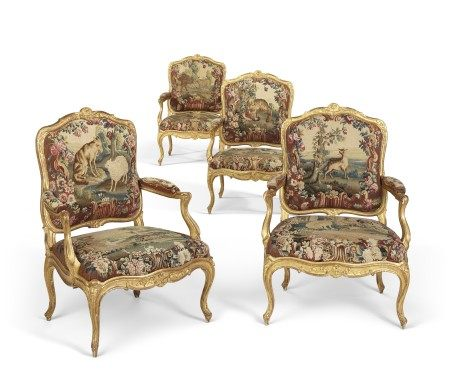 A SET OF FOUR LOUIS XV GILTWOOD FAUTEUILS