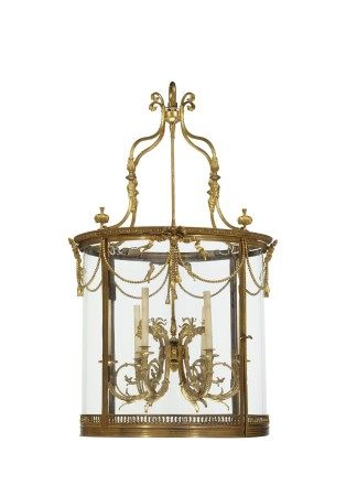 A MASSIVE FRENCH ORMOLU HALL LANTERN
