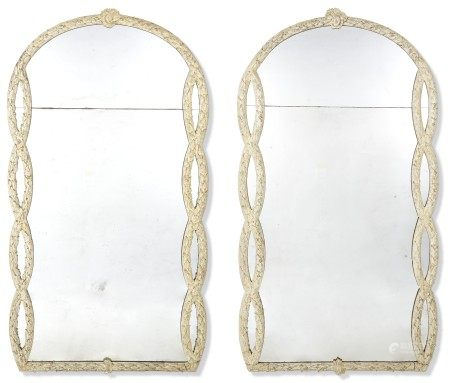 A PAIR OF NORTH EUROPEAN CREAM AND BLUE-PAINTED MIRRORS