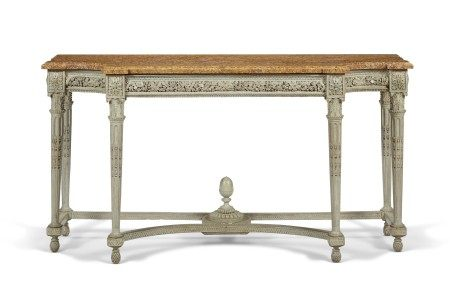 A LOUIS XVI BLUE-PAINTED CONSOLE TABLE