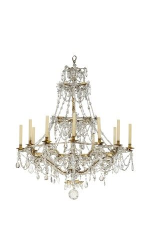 A NORTH ITALIAN GILT-METAL, ROCK CRYSTAL AND CUT-GLASS TWELVE-LIGHT CHANDELIER