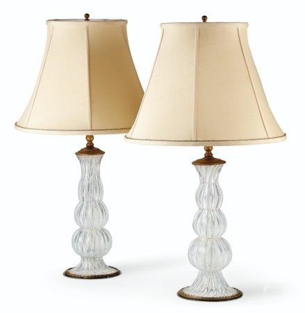 A NEAR PAIR OF GILT-METAL MOUNTED ITALIAN GLASS CANDLESTICKS, MOUNTED AS LAMPS