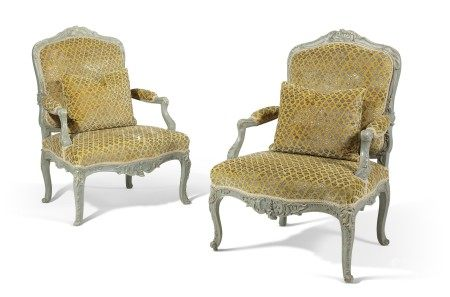 A PAIR OF LOUIS XV BLUE-PAINTED FAUTEUILS