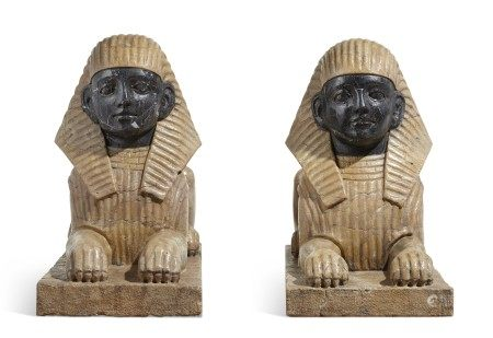 A PAIR OF VEINED YELLOW AND GREY MARBLE SPHINXES