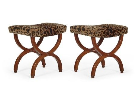 A PAIR OF FRENCH MAHOGANY X-FORM TABOURETS