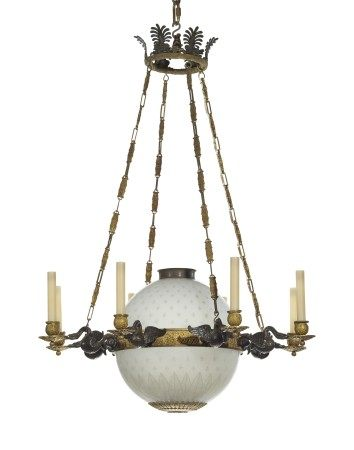 A FRENCH ORMOLU AND ETCHED GLASS EIGHT-LIGHT CHANDELIER