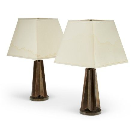 A PAIR OF CHROMIUM-PLATED BRASS TABLE LAMPS