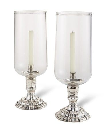 A PAIR OF FRENCH SILVERED-METAL PHOTOPHORES