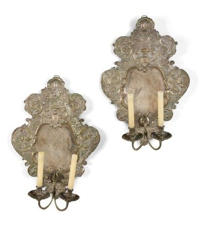 A PAIR OF GERMAN SILVERED-BRASS TWIN-BRANCH WALL-LIGHTS