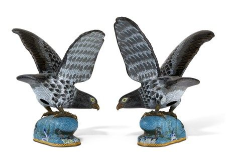 A PAIR OF CHINESE CLOISONNE ENAMEL MODELS OF HAWKS