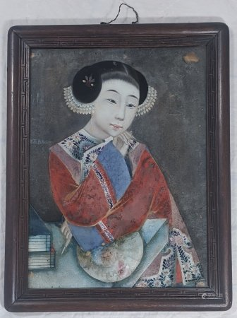 A Chinese 19th century reverse glass painted portrait of a lady, H.28.5cm W.38.5cm