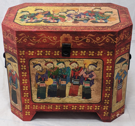 A Burmese painted wooden twin handled box, H.31cm W.36cm