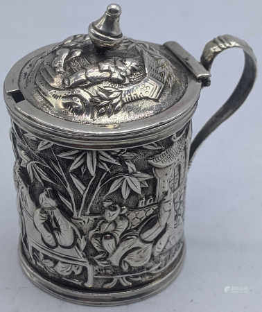 A late 19th century Chinese export silver mustard pot by Wang Hing, 49.3g, H.6cm