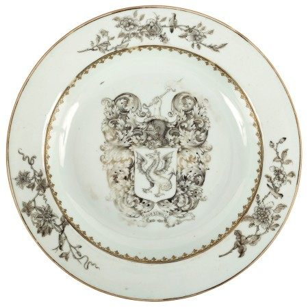 Two Chinese Export armorial plates, Qianlong circa 1760, comprising a soup plate and dinner plate,