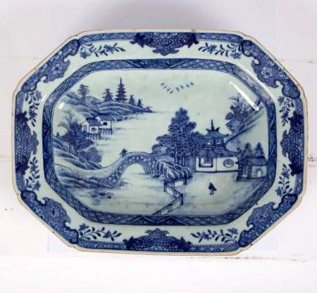 A Chinese export blue and white meat dish of canted rectangular shape,