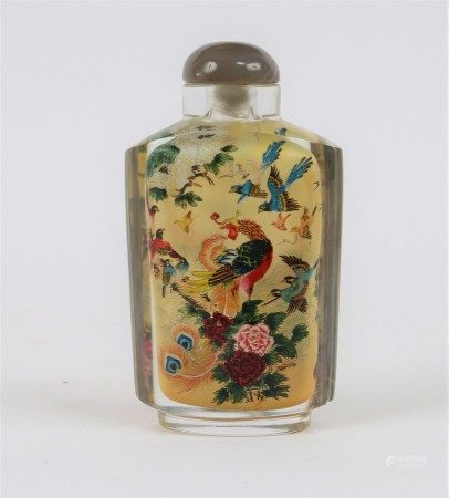 A Chinese snuff bottle and cover, the interior pained peacocks,