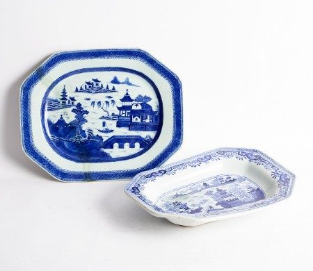 Two Chinese export blue and white meat dishes of canted rectangular form, each misfired,