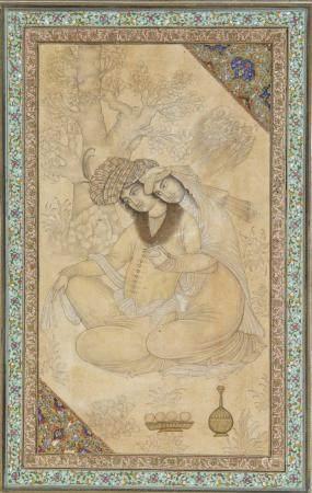 A PERSIAN SEATED COUPLE MINIATURE, 20TH CENTURY