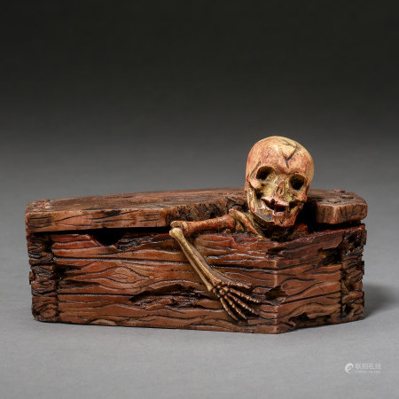 ANCIENT CHINESE RED INK PAD CARVED WITH A SKELETON