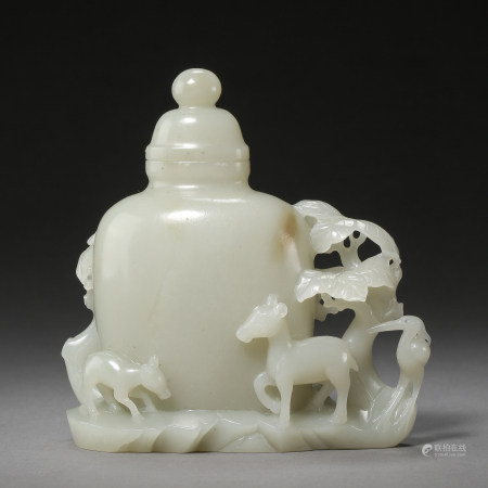 ANCIENT CHINESE HETIAN JADE BOTTLE, CARVED DEERS AND CRANE