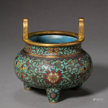 ANCIENT CHINESE COPPER CLOISONNE INCENSE BURNER