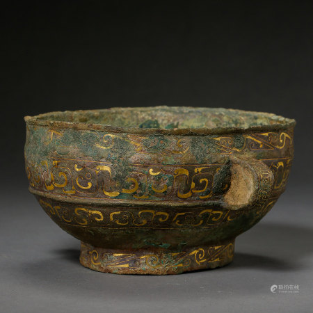 BIG ANCIENT CHINESE BRONZE CUP INLAID WITH GOLD