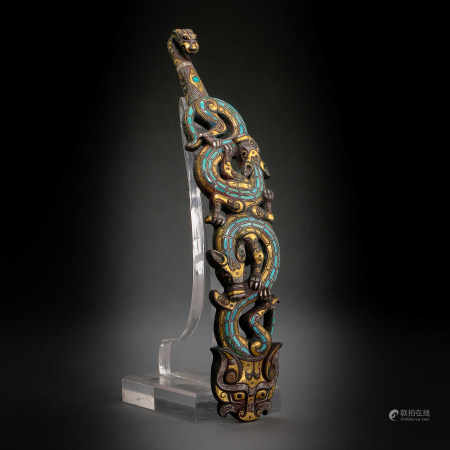 ANCIENT CHINESE BRONZE BELT HOOK INLAID TURQUOISE, GOLD AND SILVER