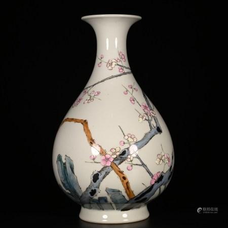 Qianlong of Qing Dynasty            Pink Jade pot spring vase