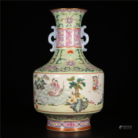Qianlong of Qing Dynasty            Pastel bottle with two ears