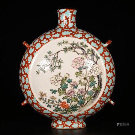 Qianlong of Qing Dynasty            Famille rose vase with flower pattern