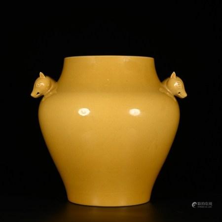 Kangxi of Qing Dynasty            Yellow glazed dog head jar