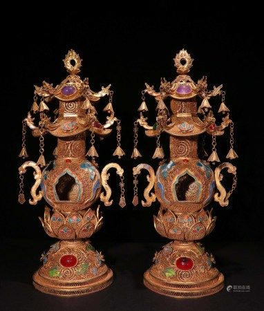 A PAIR OF CHINESE VINTAGE GILT SILVER BUDDHIST ALTARS