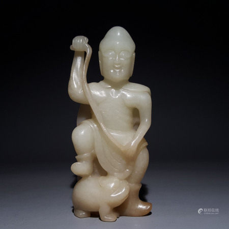 """A CHINESE VINTAGE """"HE TIAN"""" JADE DECORATIVE ITEM"""