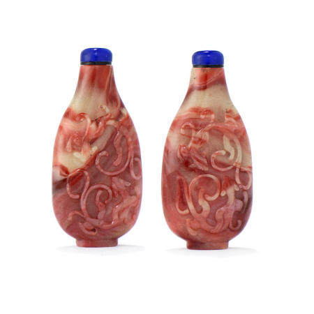 A finely carved 'chilong' glass snuff bottle 1750-1850