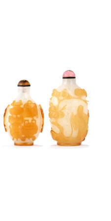 Two yellow overlaid 'snowflake' glass snuff bottles 1750-1850 (2)