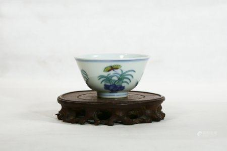 A Chenghua-Type Doucai Porcelain Cup,Ming Dynasty