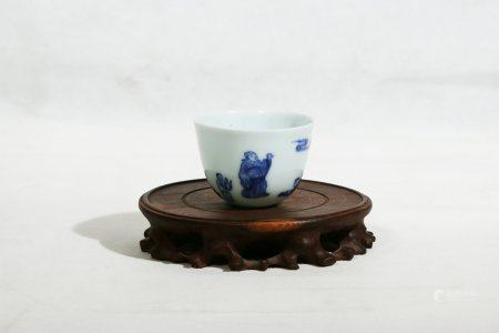A Blue And White Porcelain Cup,Qing Kangxi Period