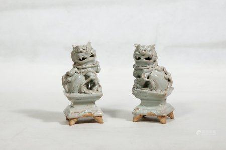A Pair Of White Glazed Porcelain Lions,Ming Dynasty