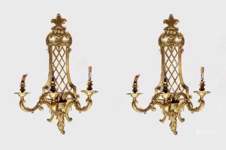 Pair Gilt Bronze Wall Sconces, Louis XV Style