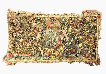 European Embroidered Tapestry Pillow, 19th C.