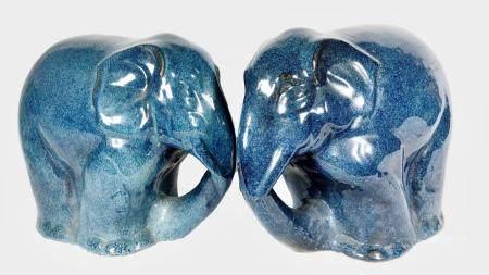 Pair Mid-Century Blue Glazed Elephants