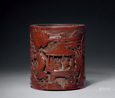 清早期 竹雕庭园高仕纹笔筒