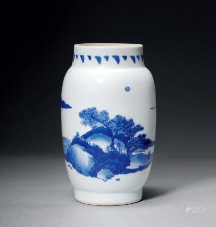 明末清初 青花山水人物纹莲子罐