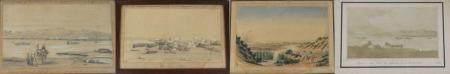 Emmanuel de BARBOT, artiste français né à Genève, actif vers 1850-1870. Campement à Suez, 1854,