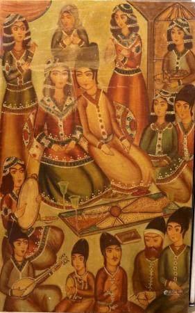 Scène de Mariage Huile sur toile Iran, XXe siècle Dans cette scène représentant un mariage trad