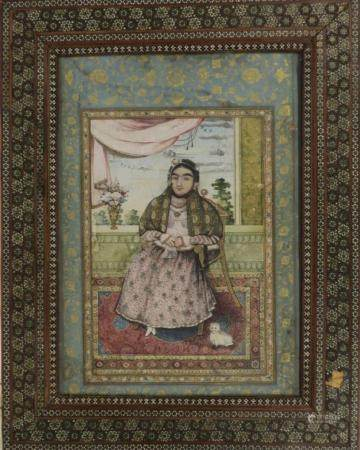 Portrait Qadjar dans un cadre en khatam kari Pigments polychromes et or sur papier, et Khatam k