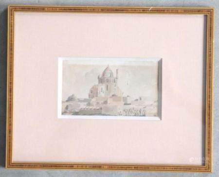 Vue du Dôme de Soltaniyeh Aquarelle sur papier XIXe siècle Cette petite aquarelle représente un